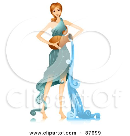 Royalty-Free (RF) Clipart Illustration of a Beautiful Horoscope Aquarius Woman Pouring Water by BNP Design Studio