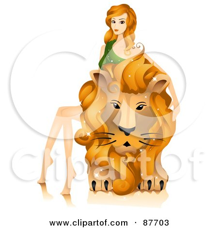 Beautiful Horoscope Leo Woman Sitting On And Petting A Lion Posters, Art Prints