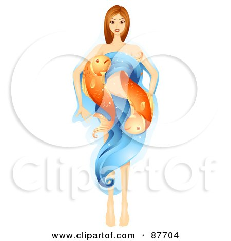 Royalty-Free (RF) Clipart Illustration of a Beautiful Horoscope Pisces Woman With Water And Fish by BNP Design Studio