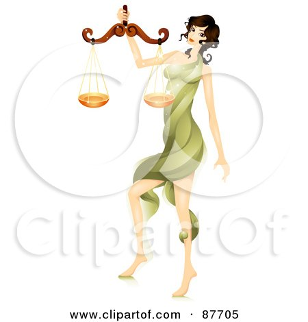 Royalty-Free (RF) Clipart Illustration of a Beautiful Horoscope Libra Woman Carrying A Scale by BNP Design Studio