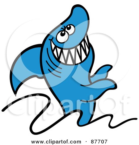 Royalty-Free (RF) Clipart Illustration of a Happy Blue Shark Grinning And Jumping Out Of The Waves by Zooco