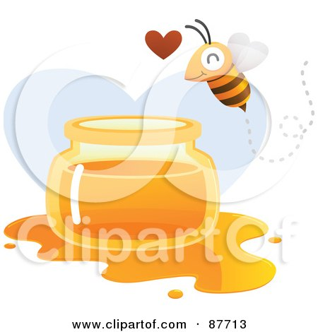 Royalty-Free (RF) Clipart Illustration of a Happy Bee Flying Over A Spilled Jar Of Honey by Qiun