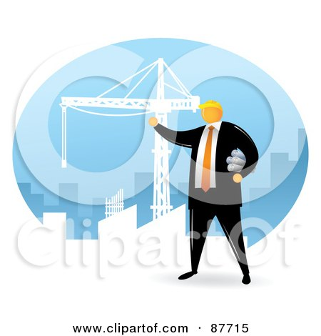 Royalty-Free (RF) Clipart Illustration of a Professional Architect Holding Plans And Looking Out At A Construction Crane In A City by Qiun