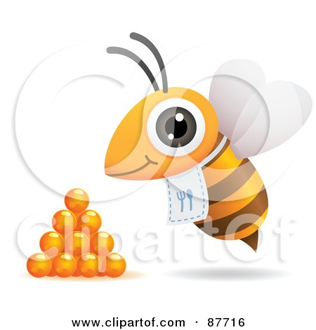 Royalty-Free (RF) Clipart Illustration of a Hungry Bee With A Bib, Flying By Honey Drops by Qiun