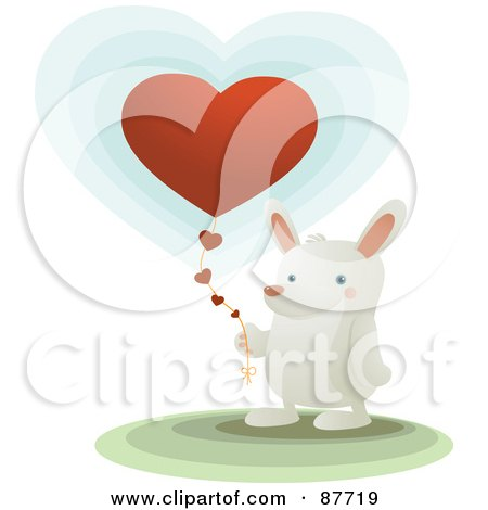 Royalty-Free (RF) Clipart Illustration of a Sweet White Bunny Holding A Heart Balloon With A String Of Hearts by Qiun