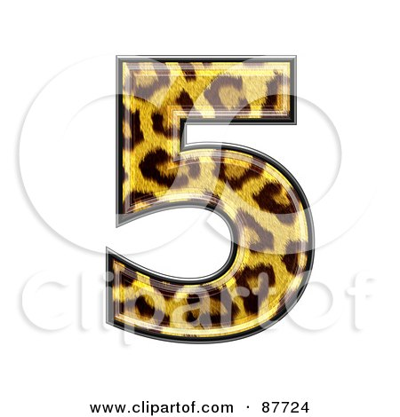Royalty-Free (RF) Clipart Illustration of a Panther Symbol; Number 5 by chrisroll