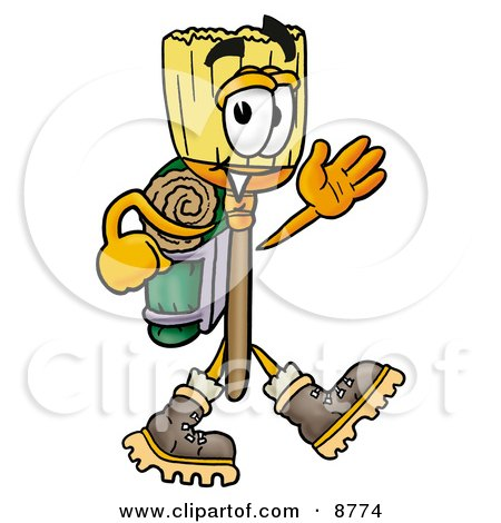 Clipart Picture of a Broom Mascot Cartoon Character Hiking and Carrying a Backpack by Toons4Biz