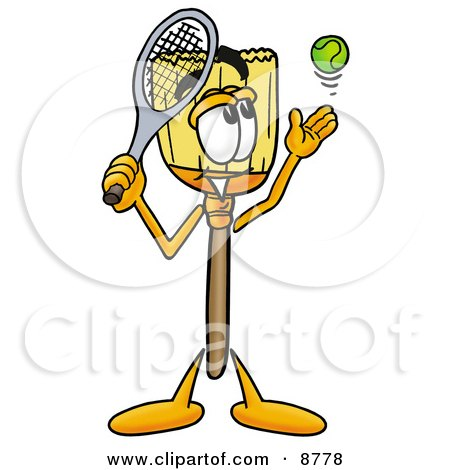 Clipart Picture of a Broom Mascot Cartoon Character Preparing to Hit a Tennis Ball by Toons4Biz