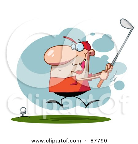 Royalty-Free (RF) Clipart Illustration of an Energetic Toon Guy Swinging His Golf Club by Hit Toon