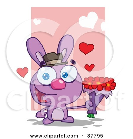 Royalty-Free (RF) Clipart Illustration of a Romantic Purple Bunny Holding A Bouquet Of Valentines Flowers by Hit Toon