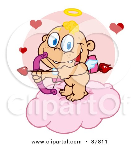 Royalty-Free (RF) Clipart Illustration of a Cupid Baby Ready To Do Some Match Making From A Cloud by Hit Toon