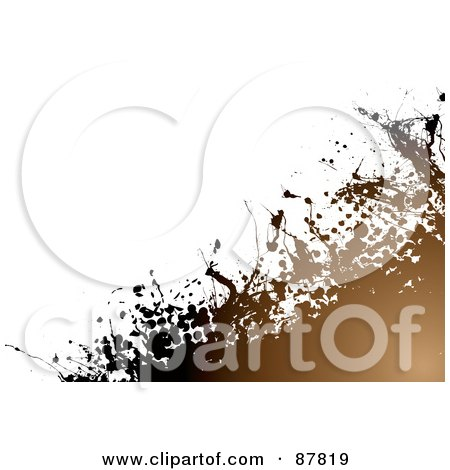 Royalty-Free (RF) Clipart Illustration of a Background Of Grungy Brown Halftone And Splatters On White by michaeltravers