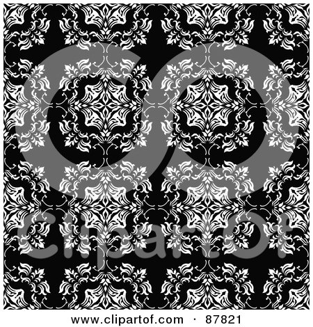 Royalty-Free (RF) Clipart Illustration of a Seamless Wallpaper Background Of White Floral Rows On Black by michaeltravers