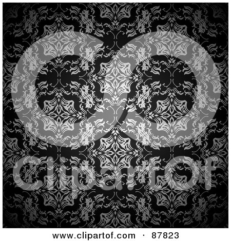 Royalty-Free (RF) Clipart Illustration of an Ornate Black And White Floral Patterned Wallpaper Background by michaeltravers