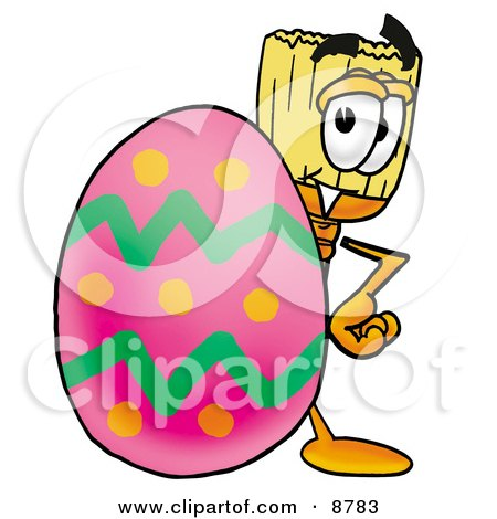 Clipart Picture of a Broom Mascot Cartoon Character Standing Beside an Easter Egg by Toons4Biz