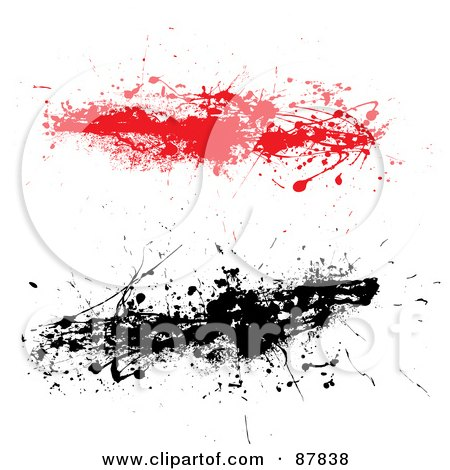 Royalty-Free (RF) Clipart Illustration of a Digital Collage Of Red And Black Ink Splatter Strands by michaeltravers