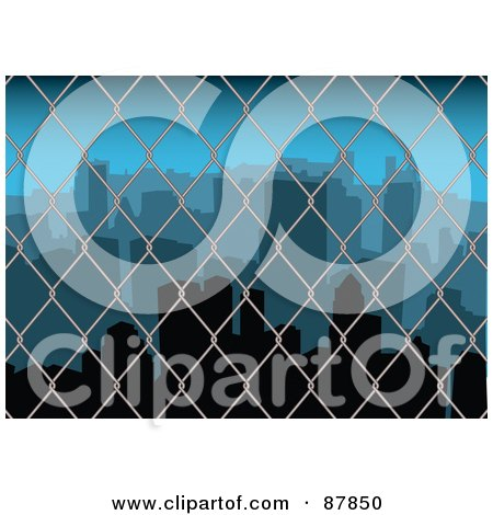 Royalty-Free (RF) Clipart Illustration of a View Of A Cityscape Through A Wire Fence by michaeltravers