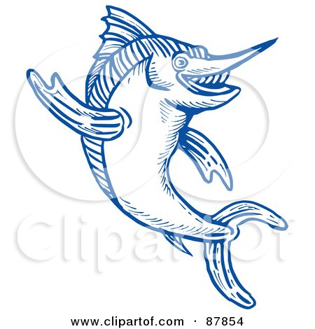Royalty-Free (RF) Clipart Illustration of a Leaping Blue Marlin Line Drawing by patrimonio