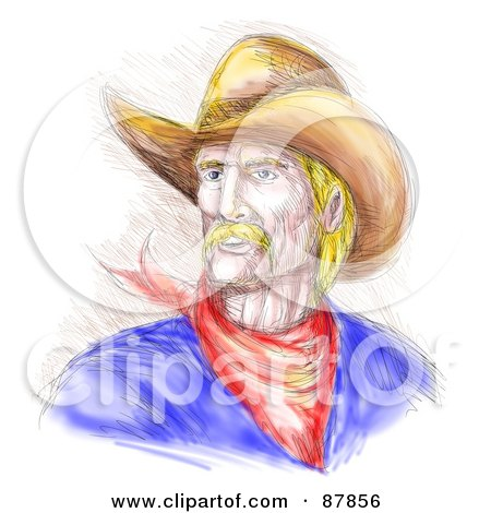 Royalty-Free (RF) Clipart Illustration of a Sketched Cowboy In A Hat by patrimonio