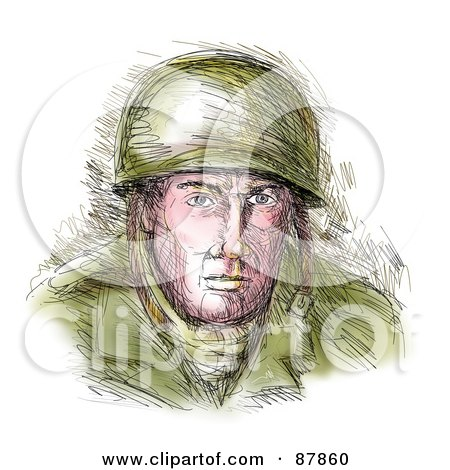Royalty-Free (RF) Clipart Illustration of a Sketched WWII Soldier by patrimonio