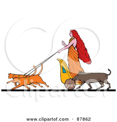 Royalty-Free (RF) Clipart Illustration of The Goddess Freyja Riding On A Charoit Pulled By Two Cats, Her Boar Running At Her Side by patrimonio