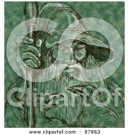 Royalty-Free (RF) Clipart Illustration of a Black Sketch Of Odin And Ravens On Green by patrimonio