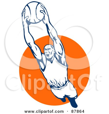 Royalty-Free (RF) Clipart Illustration of a Leaping Basketball Player With A Ball In Hand by patrimonio