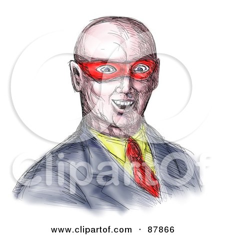 Royalty-Free (RF) Clipart Illustration of a Sketched Bald Super Hero Man by patrimonio