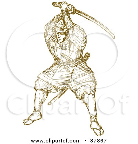 Royalty-Free (RF) Clipart Illustration of a Retro Warrior Holding A Sword On