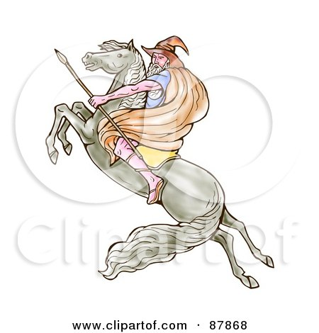 Royalty-Free (RF) Clipart Illustration of a Male Wizard Carrying A Spear And Riding On A Leaping Horse by patrimonio