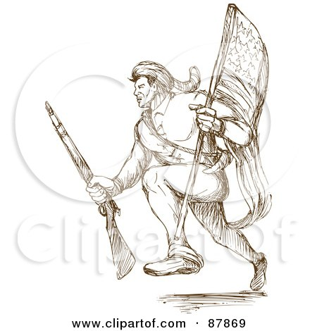 Royalty-Free (RF) Clipart Illustration of a Brown Sketch Of An American Revolutionary Soldier Running With A Flag by patrimonio