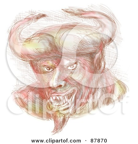 Royalty-Free (RF) Clipart Illustration of a Sketched Bull Horned Villain by patrimonio