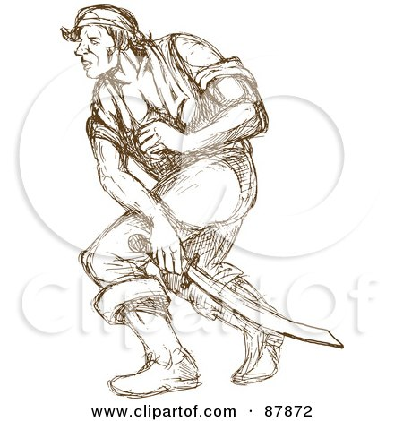 Royalty-Free (RF) Clipart Illustration of a Brown Sketched Pirate Swinging A Sword by patrimonio
