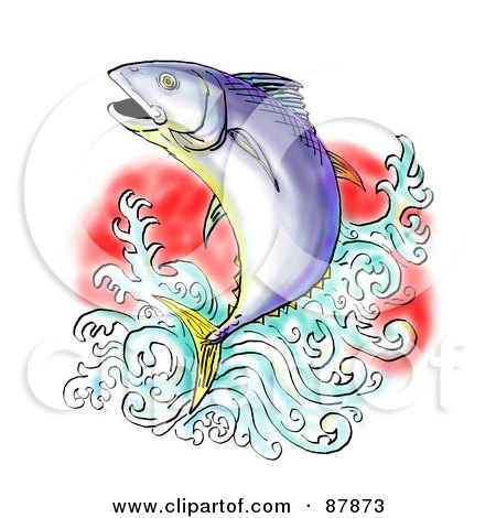 Royalty-Free (RF) Clipart Illustration of a Bluefin Tuna Leaping Out Of Water by patrimonio