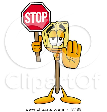Clipart Picture of a Broom Mascot Cartoon Character Holding a Stop Sign by Toons4Biz