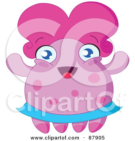 Royalty-Free (RF) Clipart Illustration of a Cute Pink Monster With A Blue Skirt And Big Hair by yayayoyo