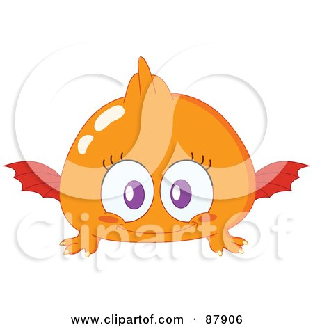 Royalty-Free (RF) Clipart Illustration of a Cute Orange Monster With Wings by yayayoyo