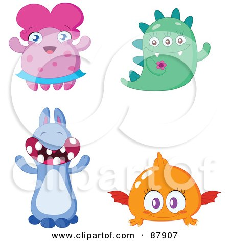 Royalty-Free (RF) Clipart Illustration of a Digital Collage Of Four Cute Monsters by yayayoyo