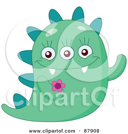 Royalty-Free (RF) Clipart Illustration of a Cute Green Monster With A Spikes And A Flower by yayayoyo