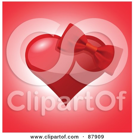 Royalty-Free (RF) Clipart Illustration of a Red Bow On A Shiny Red Heart Over Pink by yayayoyo