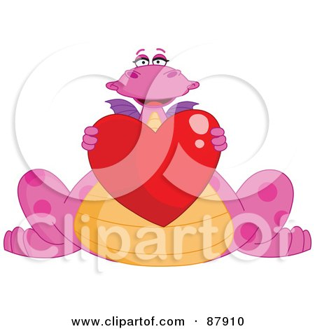Royalty-Free (RF) Clipart Illustration of a Cute Pink Dragon Holding A Shiny Red Heart by yayayoyo