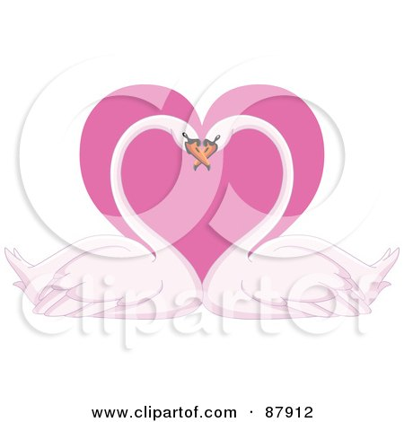 Royalty-Free (RF) Clipart Illustration of a Romantic Swan Pair With Their Heads Together Over A Pink Heart by yayayoyo