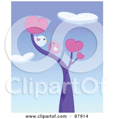 Cute Love Birds Smooching In A Heart Tree Under Heart Clouds Posters, Art Prints