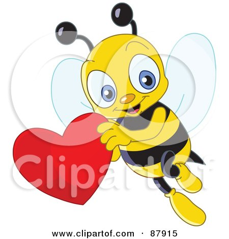 Royalty-Free (RF) Clipart Illustration of a Cute Bee Flying With A Red Heart by yayayoyo