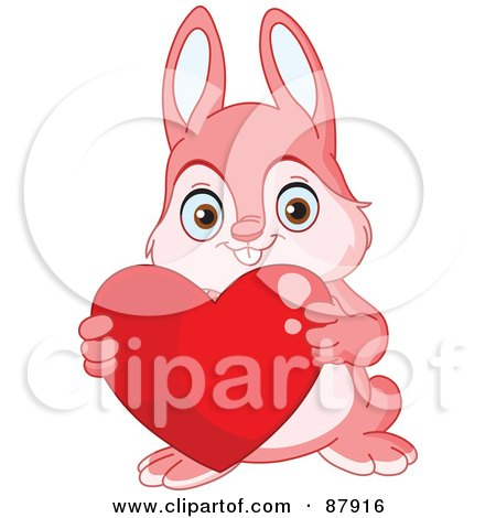 Royalty-Free (RF) Clipart Illustration of a Cute Pink Bunny Rabbit Holding A Red Heart by yayayoyo