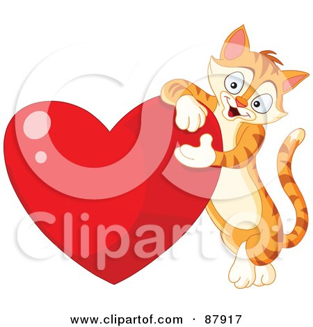 Royalty-Free (RF) Clipart Illustration of a Cute Ginger Cat Leaning On A Shiny Red Heart by yayayoyo