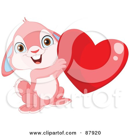 Royalty-Free (RF) Clipart Illustration of a Cute Pink Bunny Rabbit Holding Up A Shiny Red Heart by yayayoyo