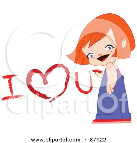 Royalty-Free (RF) Clipart Illustration of a Cute Girl Drawing I Love You On A Wall With A Crayon by yayayoyo