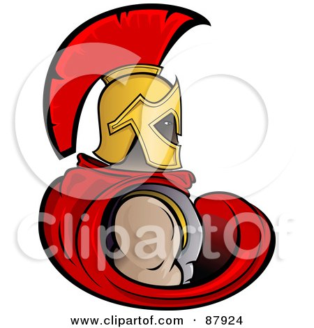Royalty-Free (RF) Clipart Illustration of a Strong Trojan Warrior In A Red Cape And Golden Helmet by Paulo Resende