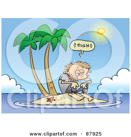 Royalty-Free (RF) Clipart Illustration of a Hot Sun Shining On A Shaggy Toon Guy Stranded On An Island by gnurf